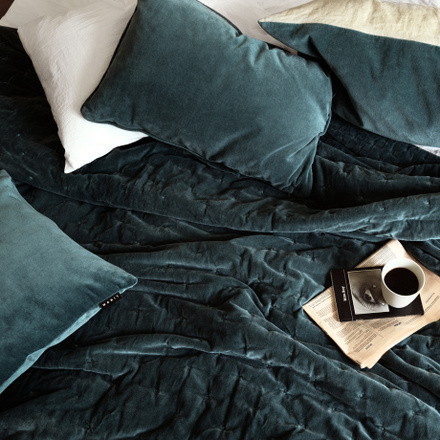 Paolo Bedspread - Bright Grey Turquoise