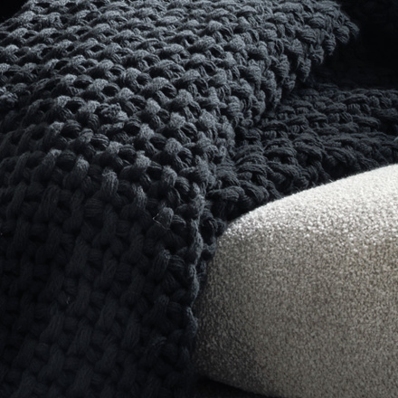 Drottningholm Throw - Ebony grey